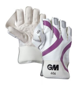 Gunn & Moore 606 Junior Wicket Keeping Gloves - White/Purple