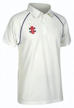Gray-Nicolls Matrix SS Playing Shirt – Ivory/Navy Trim