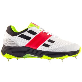 Gray-Nicolls Players Spike Cricket Shoes – White/Fluro Green