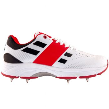 Gray-Nicolls GN Velocity 2.0 Spike Cricket Shoes – White/Red