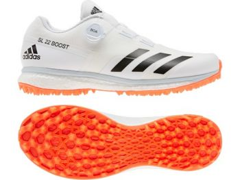 Adidas 22YDS Boost Cricket Shoes – White/Solar Red