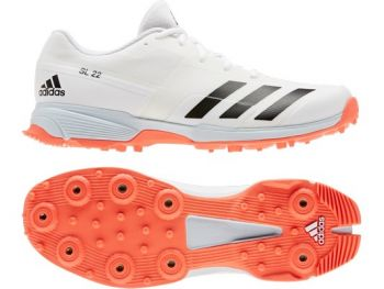 Adidas 22YDS Cricket Shoes – White/Solar Red