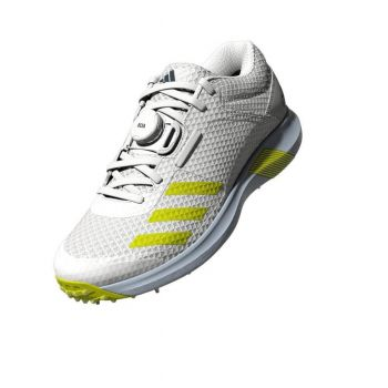 Adidas Vector Mid Cricket Shoes – White/Acid Yellow