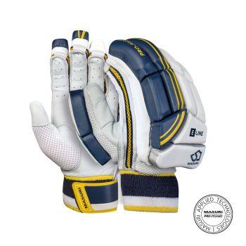 Masuri E Line RH Junior Batting Gloves - White/Navy/Yellow