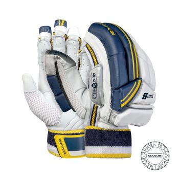 Masuri T-Line RH Batting Gloves - White/Navy/Yellow
