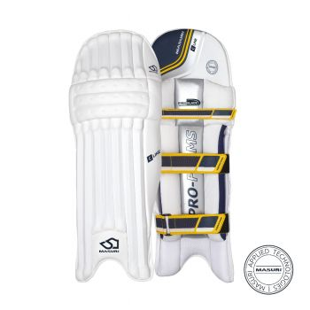 Masuri C Line RH Junior Batting Pads - White/Navy/Yellow