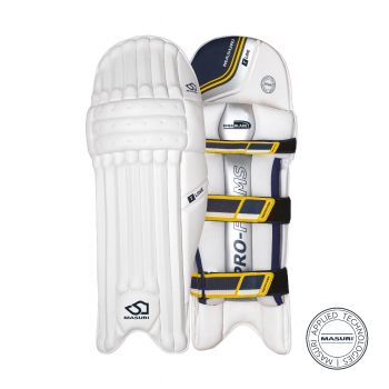 Masuri T-Line RH Batting Pads - White/Navy/Yellow
