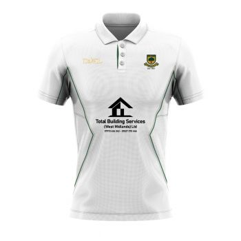 Coombswood CC Duel SS Playing Shirt - Snow White/Green